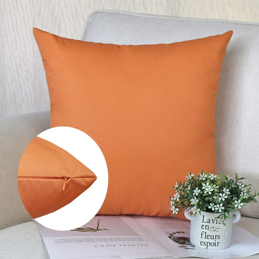 Velours c/ôtel/é R/étro Style Housse De Coussin carr/é pour Lit Voiture De La Maison Canap/é 65 x 65 cm Dapei Taie doreiller Orange