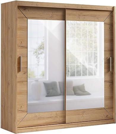 Schwebetürenschrank Alfa Kleiderschrank mit Spiegel, Modernes  Schlafzimmerschrank, Schiebetür Schrank, Schlafzimmer (180 cm, Grandson  Eiche)