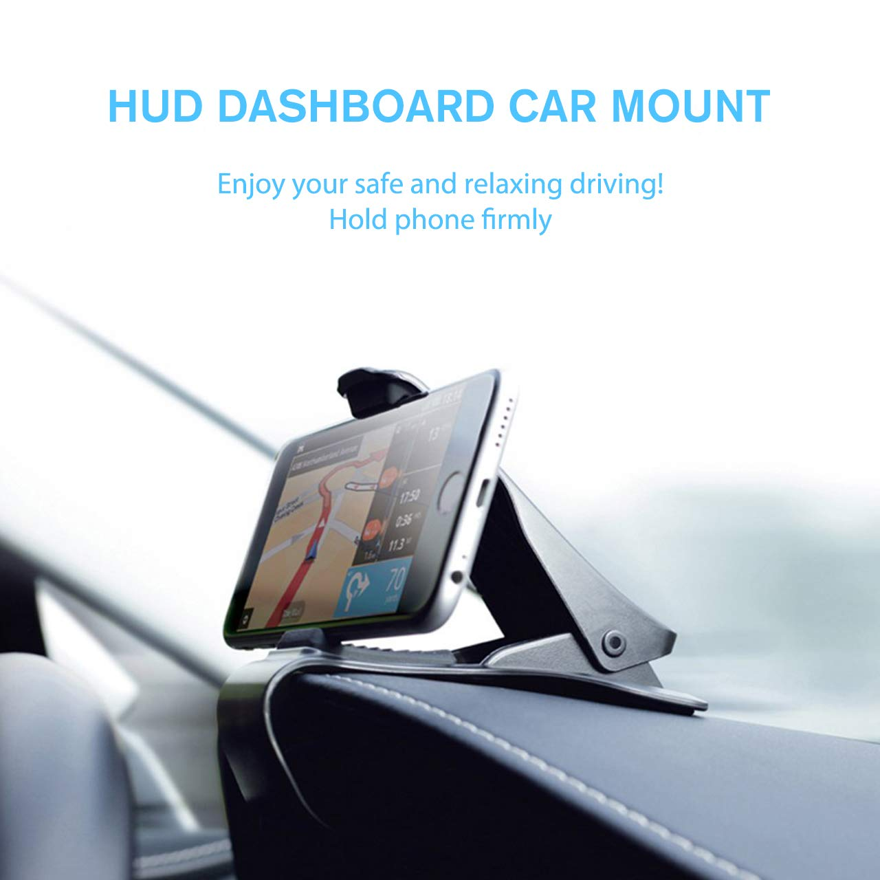 8 7 8 Plus 7 Plus Note 9 Edge and More Car Phone Holder Clamp Arm Car Mount Dashboard Mobile Clip Stand HUD Design Compatible for iPhone Xs,X Samsung Galaxy S9,S8 S7 3.0-6.5inch S8 Plus