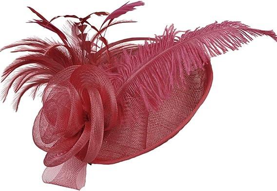 FORLADY Primavera ed estate in lino con piume di struzzo stile occidentale banchetto cappello da cocktail cappello con piume in maglia fiore clip di capelli cappello banchetto matrimonio barrettes
