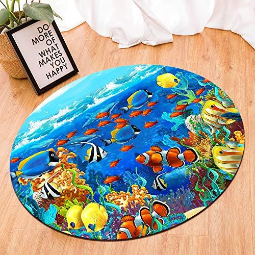 (HVEST Tropical Fish Area Rugs Marine Life Under Blue Sea Round Rug Ocean Animal Non-Slip Soft Carpet Yoga Kid's Play Pet Floor Mat for Bedroom Living Room,(Diameter:4'))