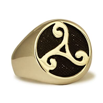 Bronze Celtic Rune Ring Water Element Symbol Celtic Triade In Bronze