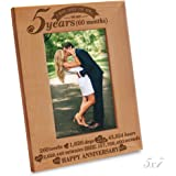 "Bella Busta - 5th Anniversary - 5 Years,Months, Weeks, Days, Hours, Weeks, Minutes, Seconds- Happy Anniversary-2012-->2017- Engraved Natural Wooden Picture Frame (5"" x 7"" Vertical)"