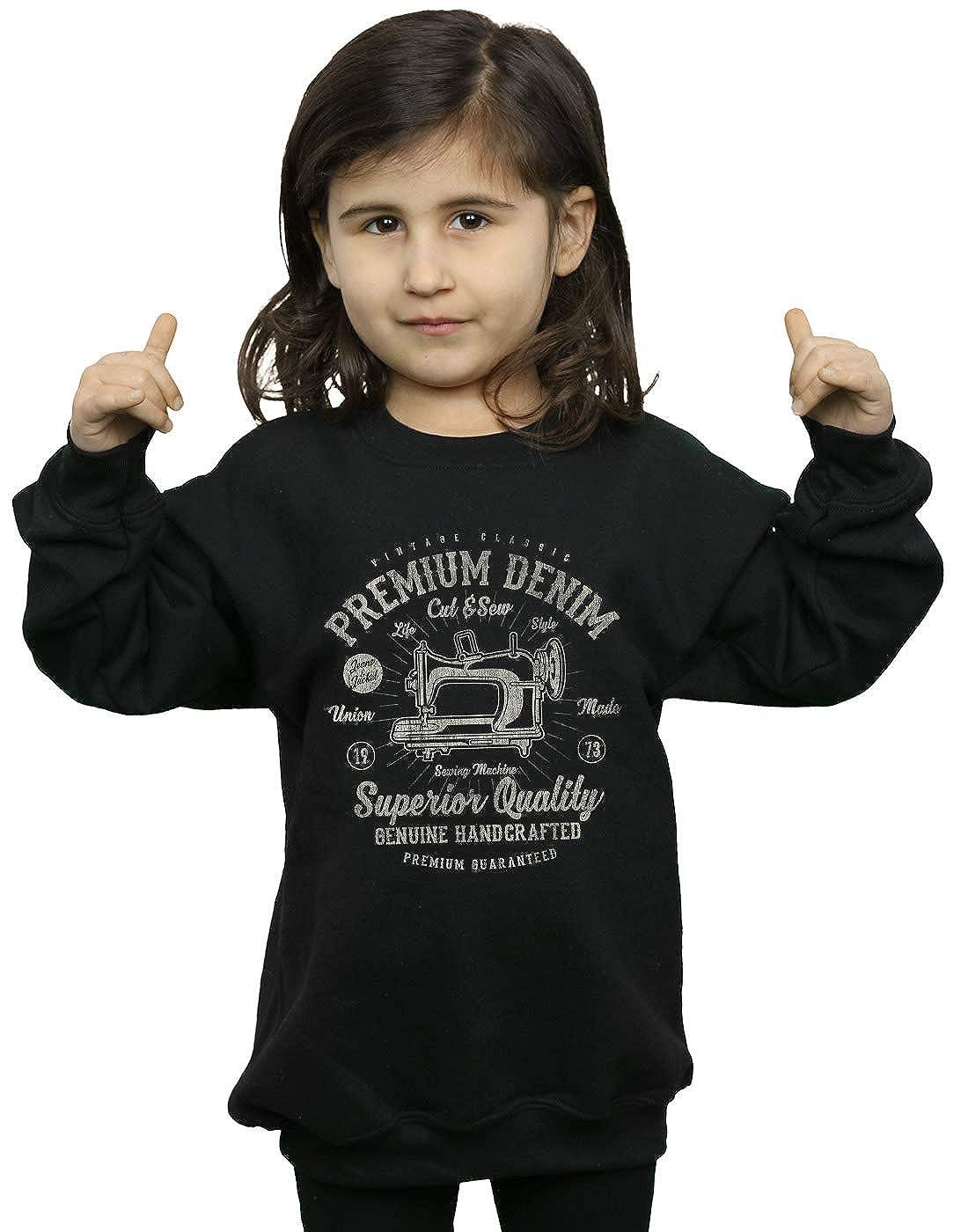 Drewbacca Girls Premium Denim Sweatshirt