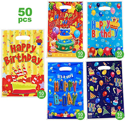 birthday gift bags for kids and girls,6.5 x 10 in,50 bags with 5 types of happy birthday patterns plastic bags,USE for 1st birthday party,Gift,candies,goodies,small toys,chocolates