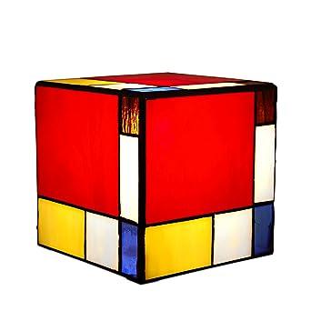 Arte Dal Mondo Cube Lampe Cube Mondrian Verre Style Tiffany