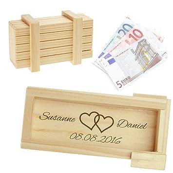"""Caja regalo mágica de madera clara – Grabado """"Boda"""" – Caja personalizada con ["""