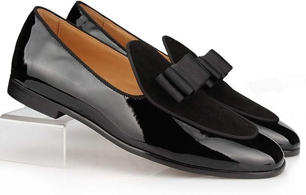 Amazon Com Cool Tiro Black Patent Leather Suede Loafers Men Italian Bow Tie Moccasins Man Flats Wedding Men S Dress Shoes Casual Slip On Shoes Us9 Eu43 Black Patent Black Suede