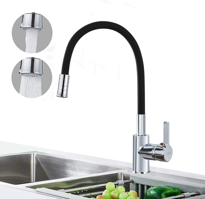 Auralum Schwarz Küchenarmatur mit 19 Strahlarten, Wasserhahn Küche