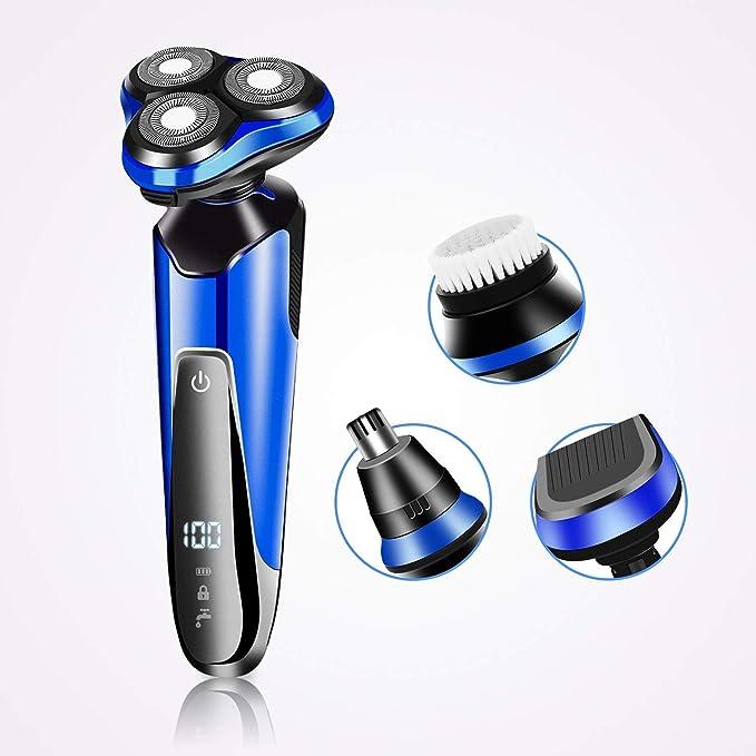 Afeitadora Eléctrica Hombre, 2NLF 4 en 1 Afeitadora Eléctrica para Hombre IP7 Impermeable Inalambrica Carga Rápida y Mojado Recortadora de Precision Barba con LED Botón Táctil: Amazon.es: Salud y cuidado personal