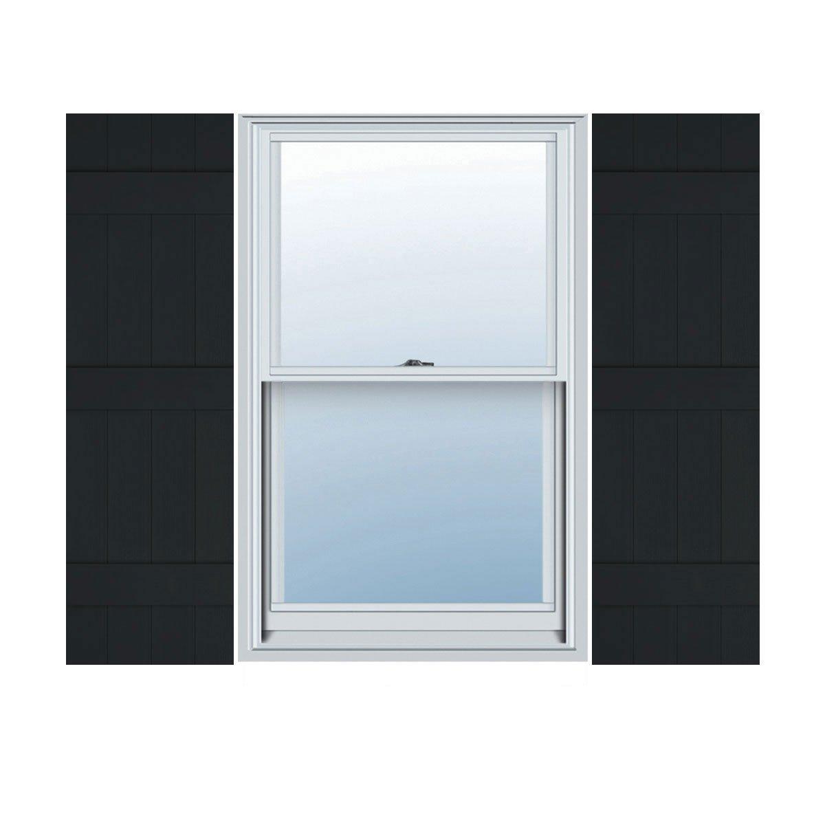 14''W x 63''H Builders Edge Shutters (Per Pair), 002 - Black by Builders Edge