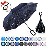 : ZOMAKE Double Layer Inverted Umbrellas for Women, Reverse Folding Umbrella Windproof UV Protection Big Straight Umbrella for Car Rain Outdoor With C-Shaped Handle (Night Sky)