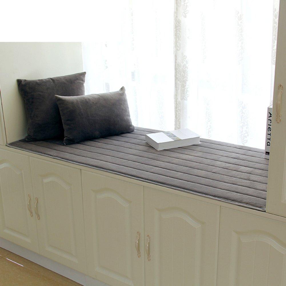 NVLKJHSFGIUJFKL Bay window cushion,Window sill cushion cover seats sill pad plush non-Slip tatami thick living room bedroom balcony -E 60x150cm(24x59inch)