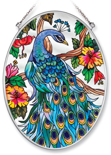 Amia Hand Painted Glass Suncatcher with Peacock Design, 5-1/4-Inch by 7-Inch Oval ()