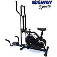 Leeway Multi Orbitrack Elliptical Steel Wheel (Sitting Pedaling/Standing Rowing/Twister)| Orbitrek Dual Action with Seat and Twister| Aerobic Training Machine| Indoor orbitrack Cycle| Twister