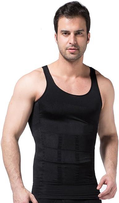 zerobodys SS-M01 Camiseta sin mangas para hombre, elástica, moldea la figura, gris: Amazon.es: Deportes y aire libre
