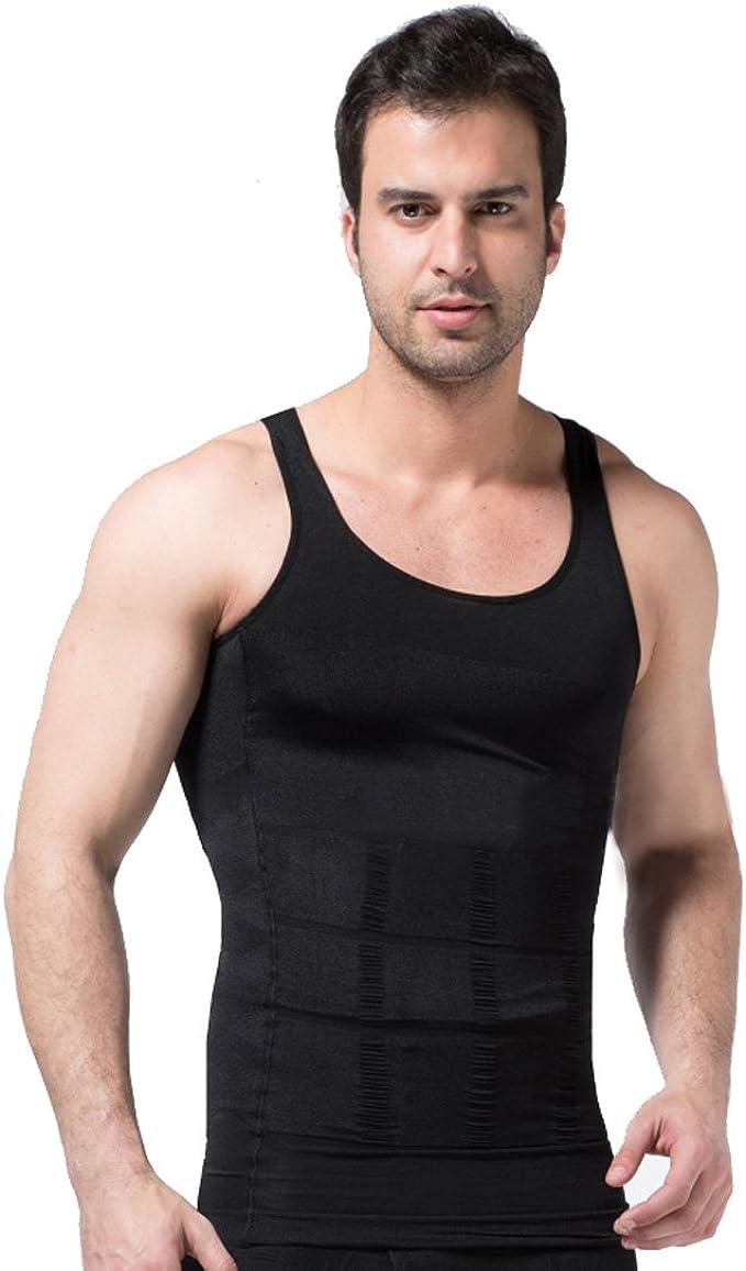 TALLA XXL. zerobodys SS-M01 Camiseta sin mangas para hombre, elástica, moldea la figura, gris