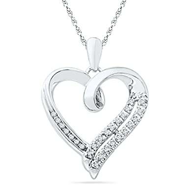Amazon sterling silver round diamond in heart pendant 110 sterling silver round diamond in heart pendant 110 cttw aloadofball Gallery