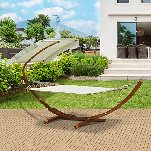Festnight Outdoor Patio Wooden Hammock Swing Stand with Sun Shade