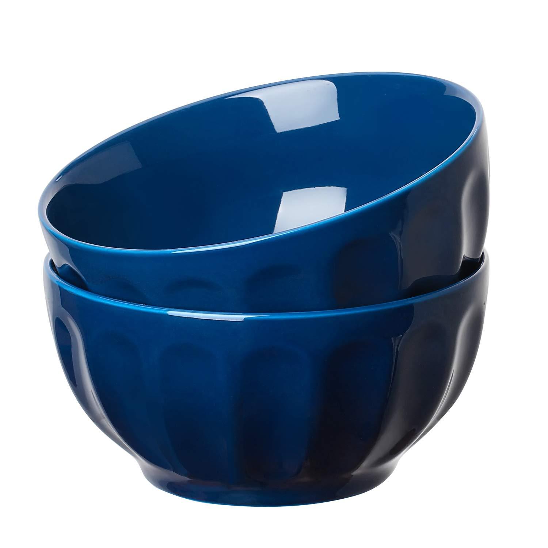 YHY 13052 Porcelain Fluted Bowl Sets for Cereal, Soup, 24-Ounce, Set of 2