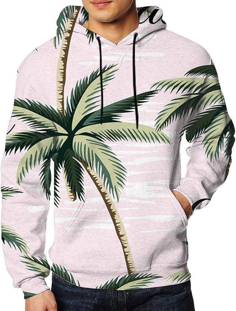 Tropical Hawaiian Vintage Palm Trees Floral Aloha 3D Print Hoodie Long Sleeve Pullover Sweatshirts for Men XXL