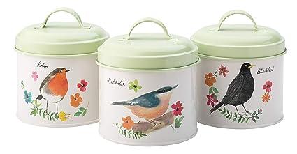 English Tableware Company, Set di 3 barattoli - Design Uccellini ...