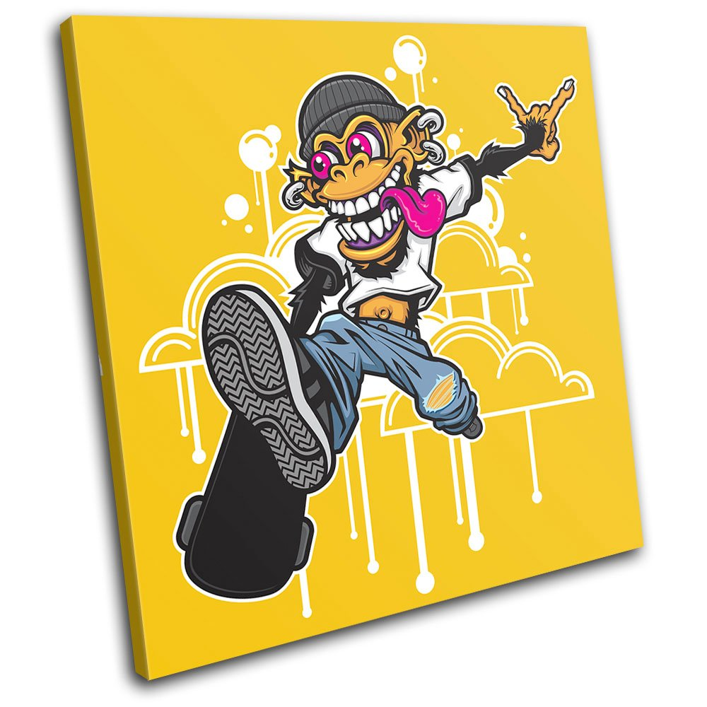 Amazon.com: Bold Bloc Design - Skateboarding Monkey Graffiti 90x90cm ...