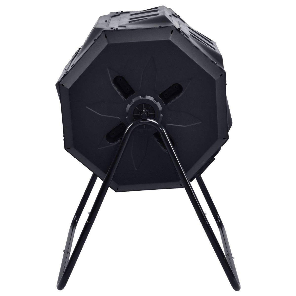 GOPLUS Compost Vaso 42-Gallon Doble cámara al Aire Libre jardín Rolling Compost Bin Negro: Amazon.es: Jardín