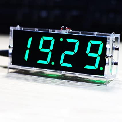 Amazon.com: KKmoon DIY Digital LED Clock Kit Compact 4-digit Light Control Temperature Date Time Display with Transparent Case (Green): Electronics
