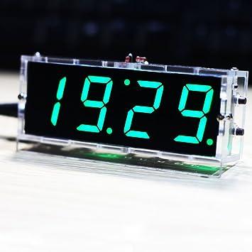 soxid (TM) nuevo llegado Kit compacto de 4 dígitos DIY Reloj Digital LED Control de luz temperatura FECHA Hora Pantalla con transparente funda: Amazon.es: ...