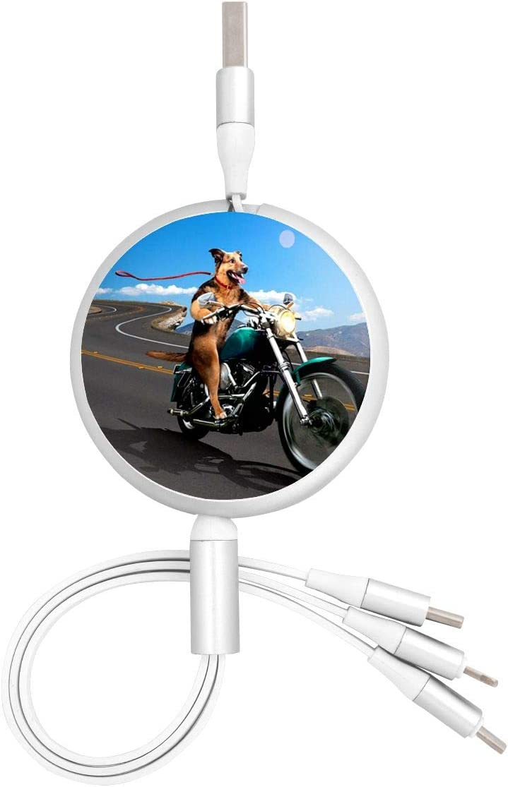 Funny Dog Motorcycle USB Charging Cable 3 in 1 Retractable Fast Charger Cord Connector for All Phones with Tablets