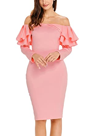d2f609066c58 Sidefeel Women Long Sleeve Ruffle Off The Shoulder Bodycon Party Midi Dress  Medium Pink at Amazon Women's Clothing store: