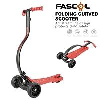Fascol Monopattini 3 Ruote per bambini sopra i 4 anni Pieghevole Scooter Ruota Flash Peso Massimo 75 kg, Rosso