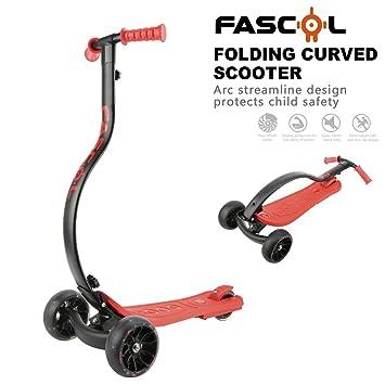 Fascol Scooter Patinete Plegable con 3 Ruedas para Niños de 4 a 10 Años,Naranja