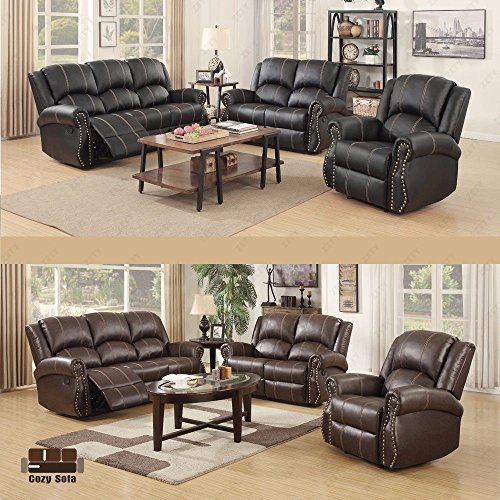 SUNCOO 3-piece Bonded Leather Recliner Sofa Gold Thread Sofa set& Loveseat & Chair Living Room Furniture set in Brown