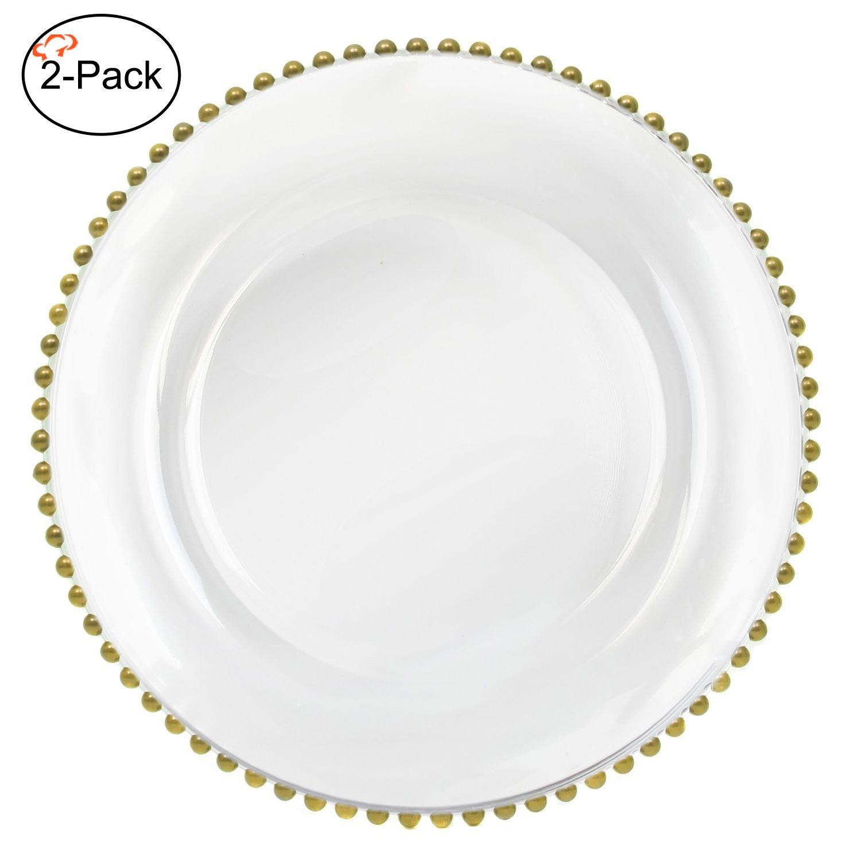 Tiger Chef 13インチ クリアラウンド ビーズガラス チャージャープレート 2 4 6 12 24点ディナーチャージャーセット (12点パック) ゴールド gold glass round charger plate set B06XN57SZC ゴールド 2 ゴールド