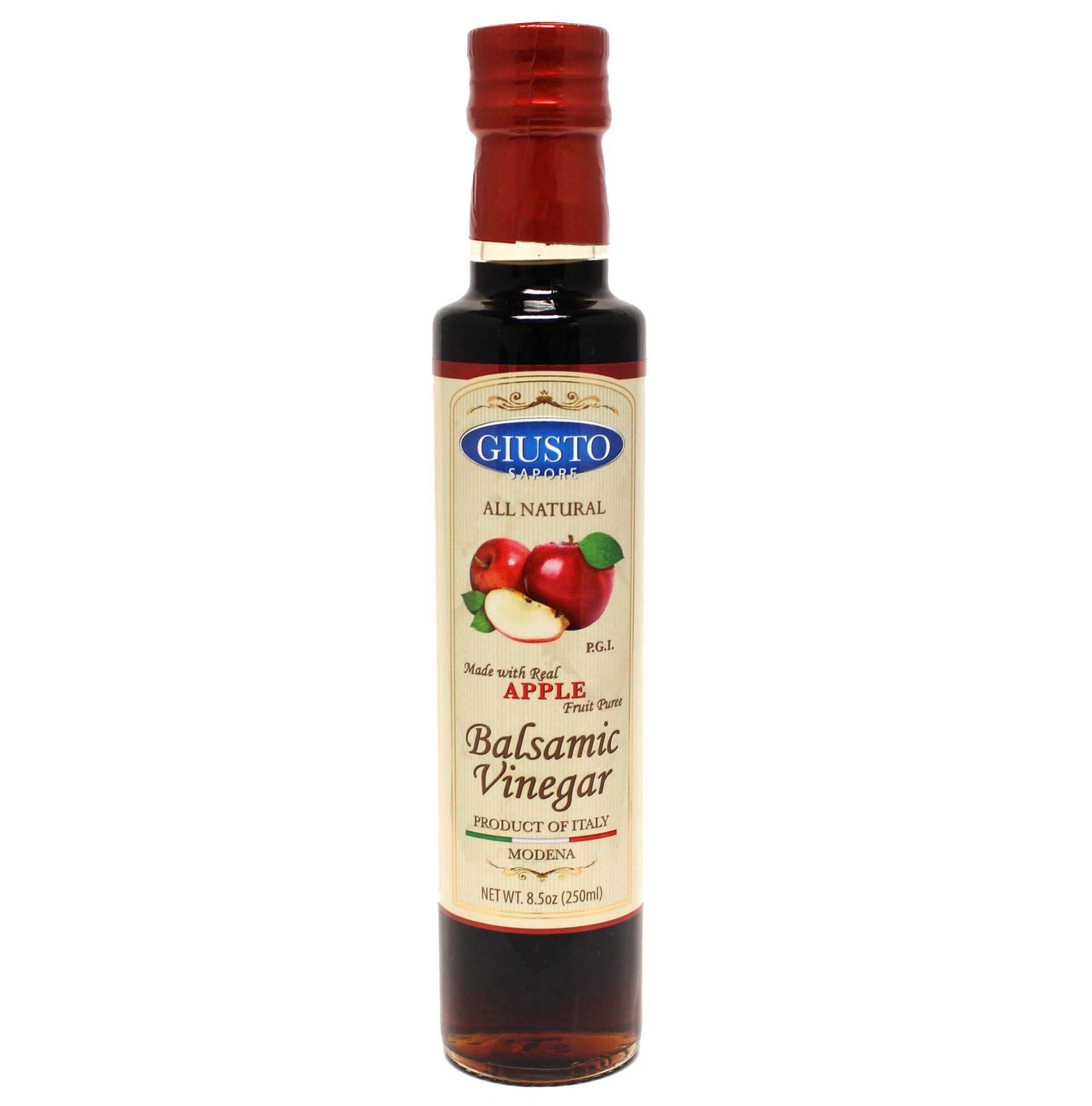Giusto Sapore All Natural Balsamic Vinegar of Modena P.G.I. - 8.5oz - Made with Real Fruit Puree - Imported from Italy and Family Owned 1 APPLE ITALIAN BALSAMIC VINEGAR: Whether you're looking for personalized gifts for the Italian lovers in your life or you're looking for delicious Italian apple balsamic vinegar. With these balsamic vinegars, you'll have 17 servings of premium gourmet Italian vinegar ready to go! QUALITY: This is some of the best superior quality Italian fruit infused balsamic vinegars on the market today and probably the last one you will need to ever try! Any product which is not made in the legal area of Modena, under specific European Union production regulations cannot receive the P.G.I certification. DELICIOUS TASTE: Giusto Sapore's Italian Apple Balsamic Vinegars yields a sweeter and less pungent taste as well as more aroma and flavor. Balsamic fruit vinegars blend real fruit puree with white wine vinegar and cooked grape must to create all natural condiments bursting with flavor.