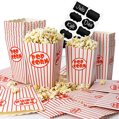 12 Theater Boxes - Chefast Popcorn Box Pack (24 Boxes) - 12x Medium and 12x Small Holders With 10x Chalkboard Stickers - Ultimate Party Favor - Great for Birthday and Theater Themed Parties, Movie Nights, Carnivals etc.