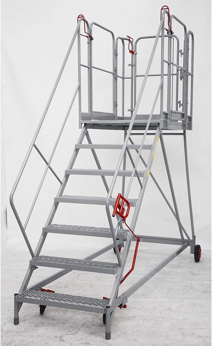 XXL Plataforma de escaleras – Rejilla niveles – 7 peldaños, plataforma Altura 1610 mm – Trabajo de podio conducción Bare Plataforma de trabajo conducción Bare trabajo plataformas Escalera Plataforma de trabajo móvil
