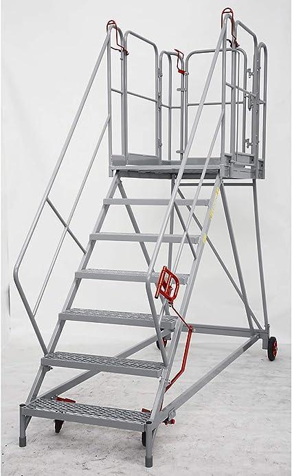 XXL Plataforma de escaleras – Rejilla niveles – 7 peldaños, plataforma Altura 1610 mm – Trabajo de podio conducción