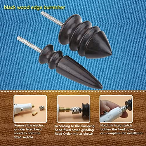 ZHTY Leather Burnisher, Pointed Tip Leather Edge Slicker Polished Drill Leathercraft Carving Tool Leathercraft Carving Tool Set DIY Edge Slicker Round Wood Burnisher 2 pcs Tool