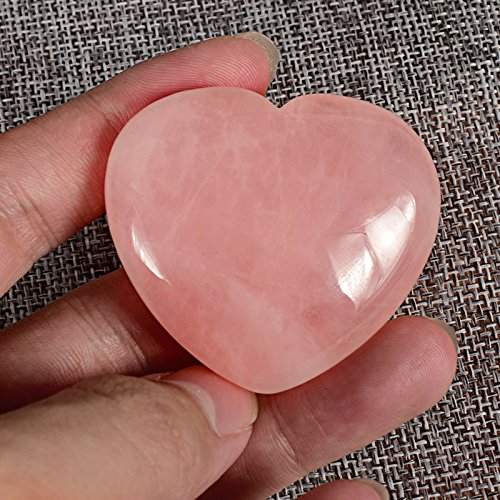 Big Size 45mm Healing Natural Carved Crystal Rose Quartz Heart Love Palm Worry Stone Puff Heart Chakra Reiki