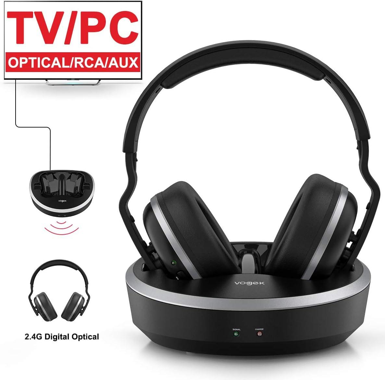 VOGEK - Auriculares inalámbricos para TV, estéreo de alta fidelidad, 2,4 G RF con base de carga de transmisor, fibra óptica, rango inalámbrico de 100 pies, recargables para TV/PC/teléfono: Amazon.es: Electrónica