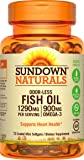Sundown Naturals Fish Oil Omega 3- 1290 mg, 72 Odorless Coated Mini Softgels