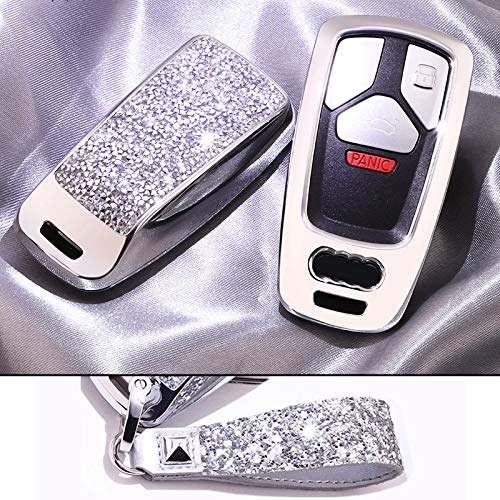 Royalfox(TM) Luxury 3 Buttons 3D Bling Smart keyless Entry Remote Key Fob case Cover for Audi A3 A4 A5 A6 Q3 Q5 Q7 C5 C6 B6 B7 B8 TT 80 S6 A6 C6 Accessories,with Keychain (Silver)