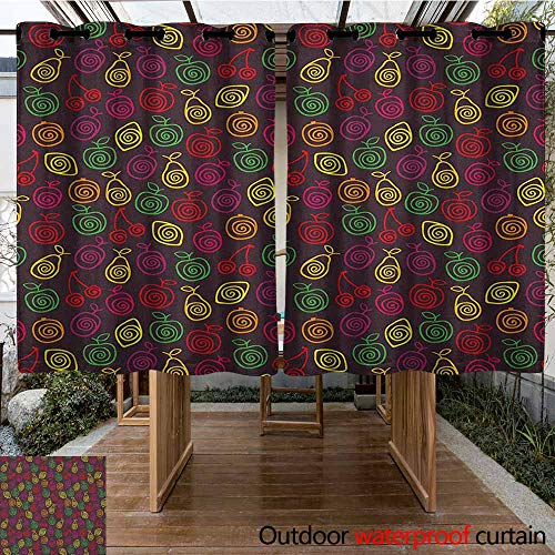 - AndyTours Grommet Outdoor Curtains,Fruits,Cute Doodle Apples Cherries Pears Spiral Featured Fresh Kitchen Creative Artsy Print,for Patio/Front Porch,K183C115 Multicolor