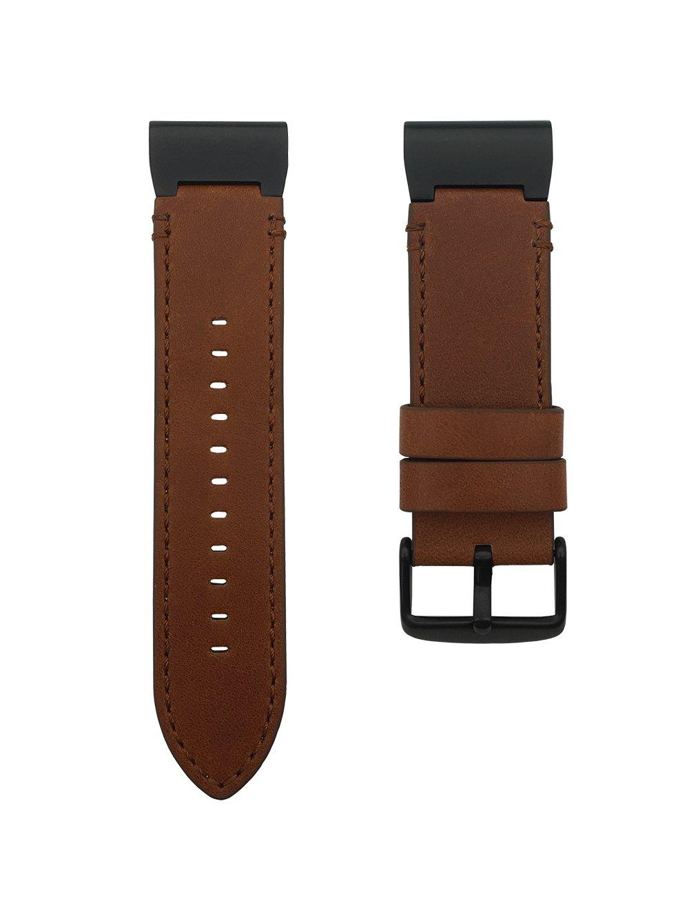 LDFAS Fenix 5X Plus Band, Genuine Leather 26mm Quick Release Easy Fit Watch Bands for Garmin Fenix 5X/5X Plus/3/3HR/Descent Mk1 Smartwatch, Brown/Black