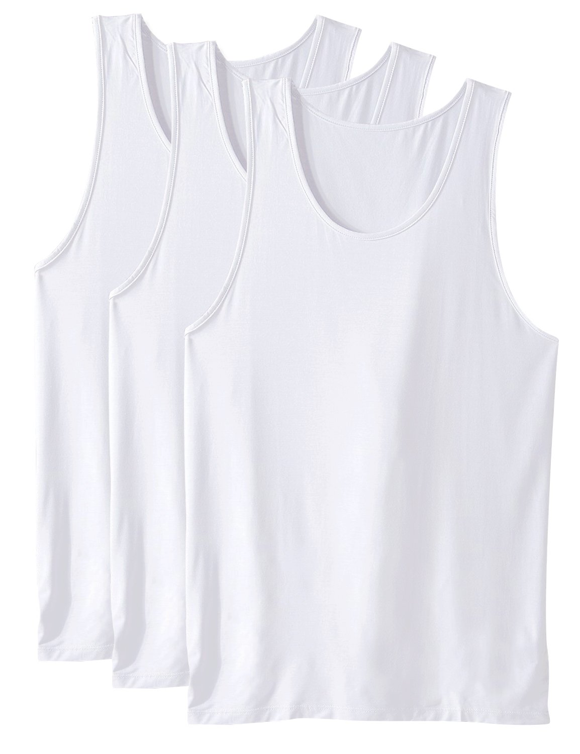 David Archy Men's 3 Pack Bamboo Rayon Undershirts Crew Neck Tank Tops(White,S)