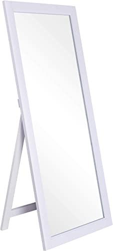 CHIC MODE White Thick Wooden Frame Full Length Mirror,HD Rectangle Full Body Tall Big Floor Stand Up or Wall Mounted Mirror