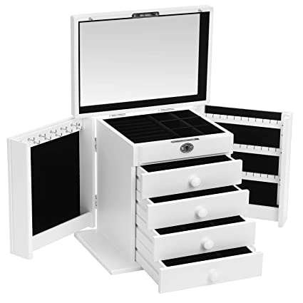 Songmics Wooden Jewellery Box Large Jewellery Cabinet With Inner Mirrored And 4 Drawers White Jbc52w
